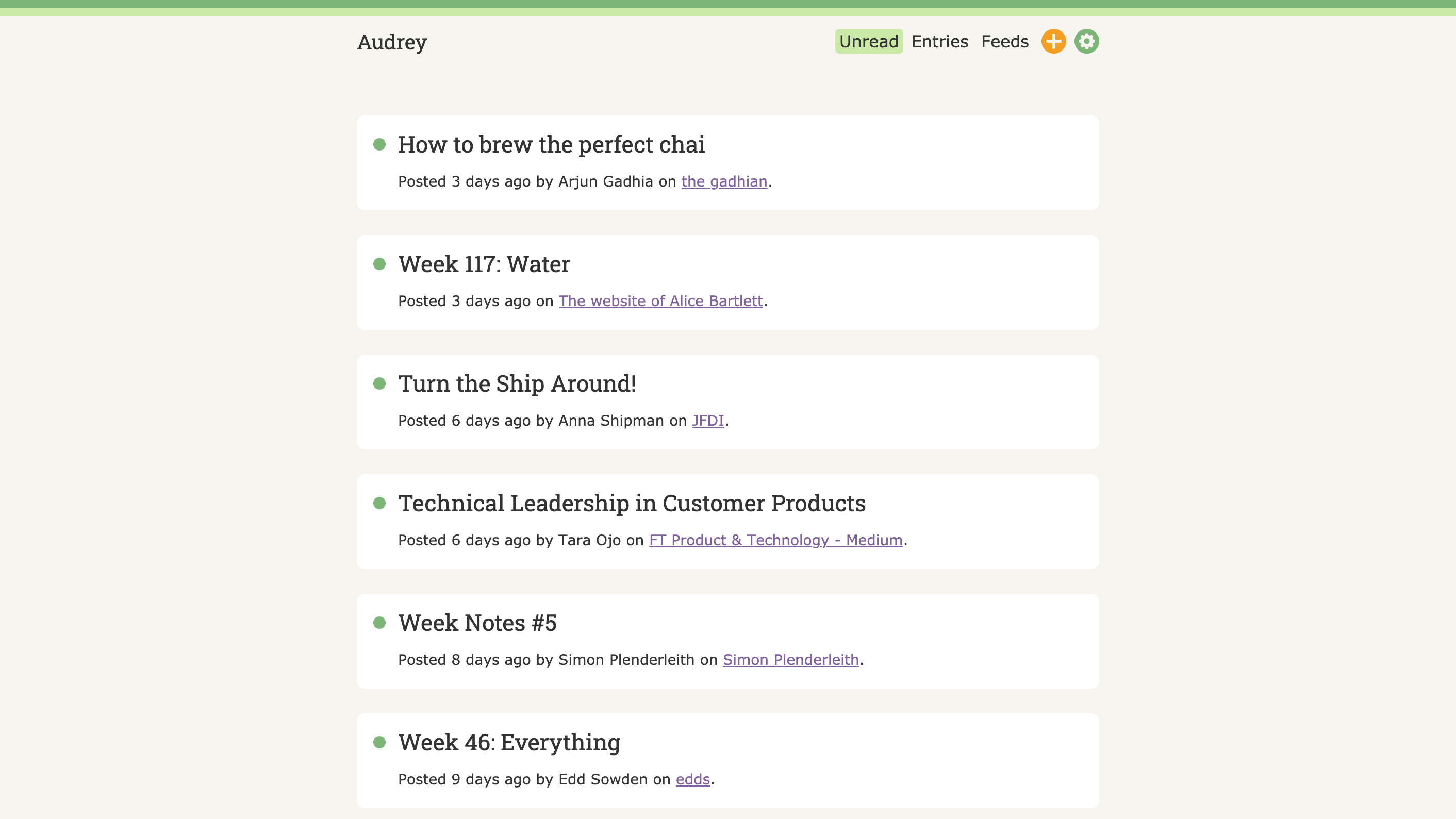 A screenshot of the Audrey home page, showing unread entries from my feeds