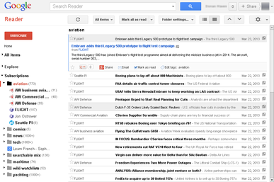 A screenshot of the Google Reader interface