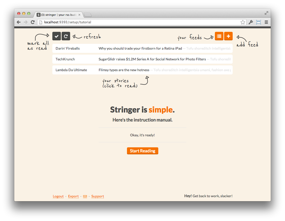 A screenshot of the Stringer interface