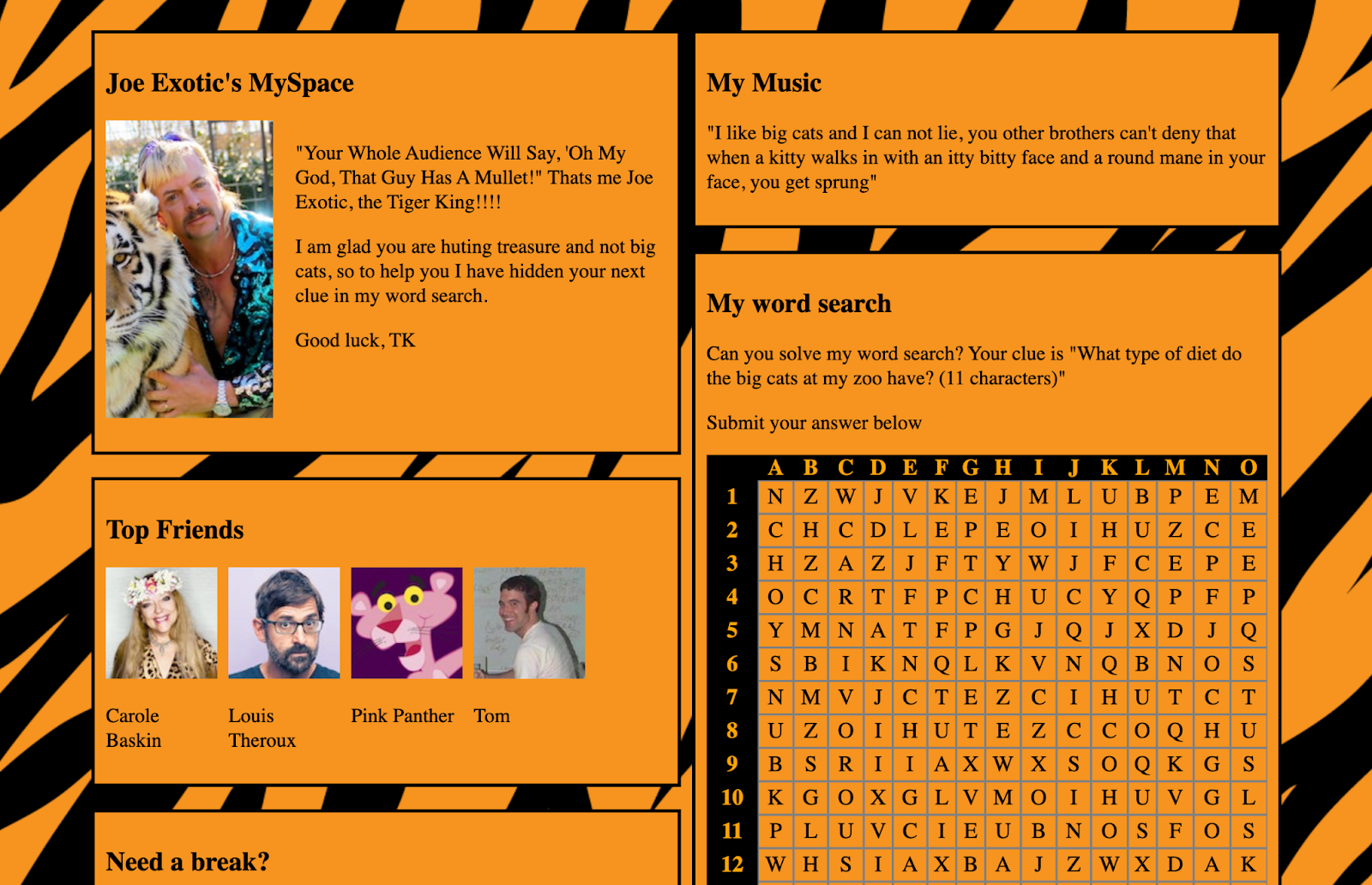 A fake MySpace page for Joe Exotic. The background is a tiger print pattern, and there's a word-search to one side