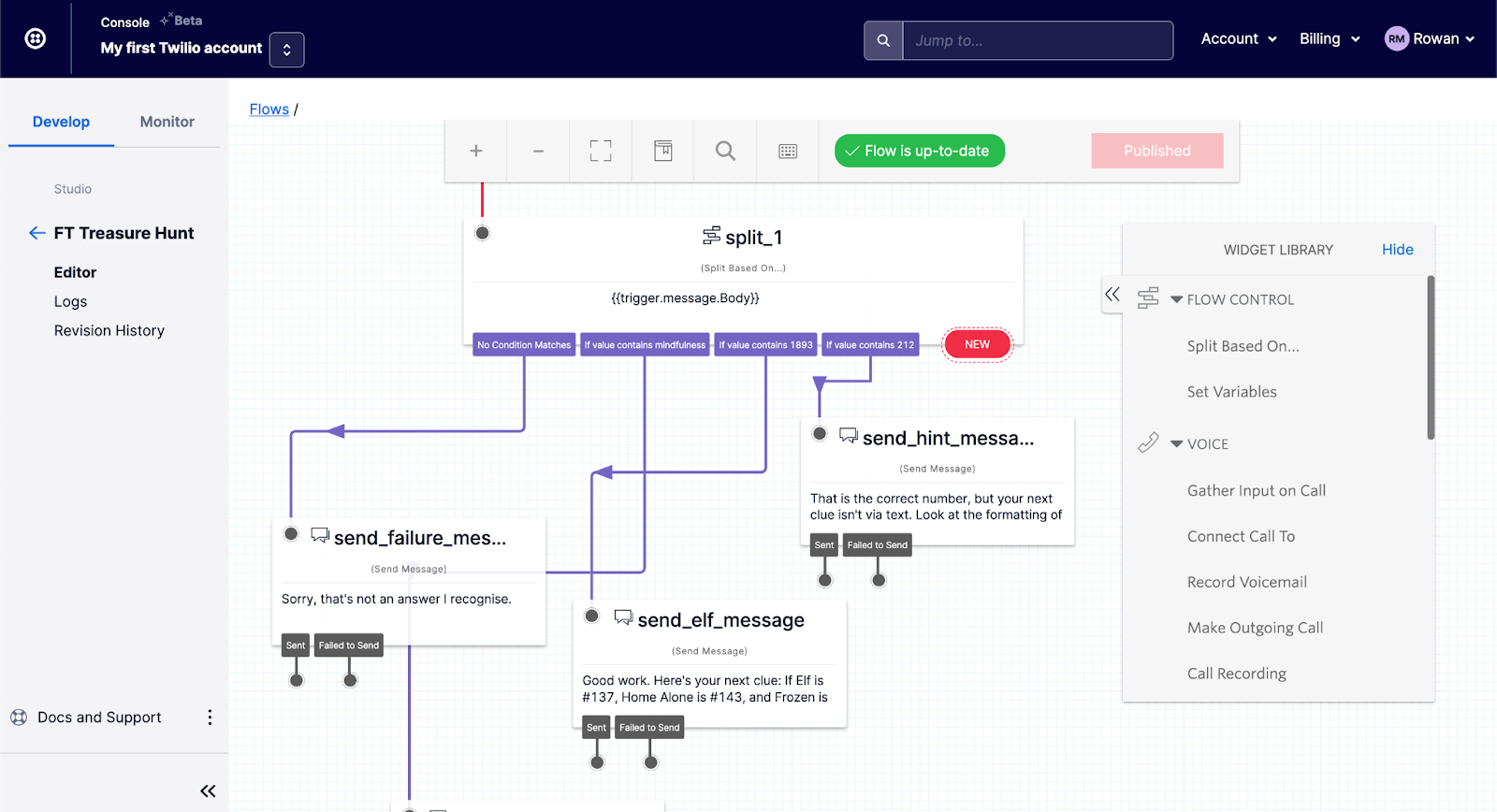 A screenshot of a Twilio Studio, with lines connecting an incoming SMS trigger to various automated responses