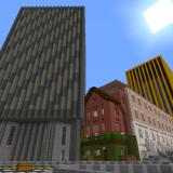 Several skyscrapers, a pub, and some terraced houses built in Minecraft
