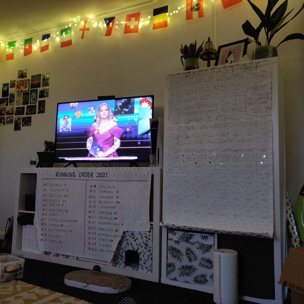 A picture of our TV screen, with Eurovision playing. The running order is pinned to the TV cabinet, and lots of european flags hang across the wall.