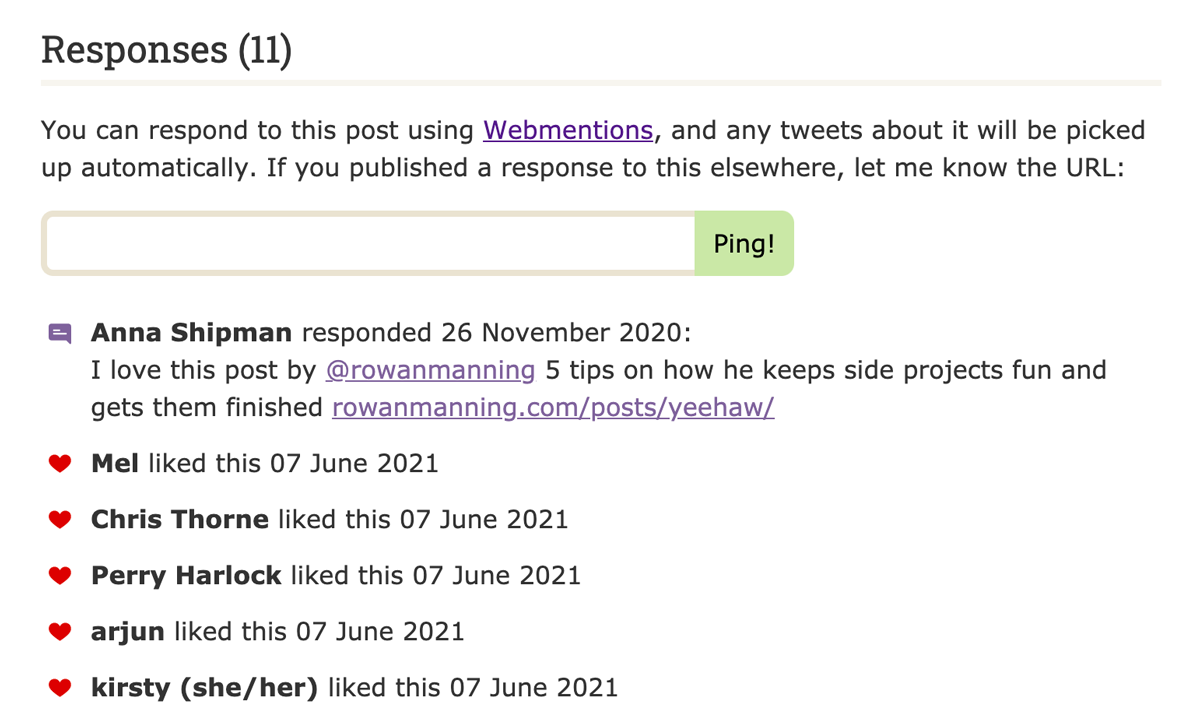 """A screenshot of the """"Responses"""" section of one of my blog posts, showing social interactions with the post and a form to submit your own mentions of the page."""
