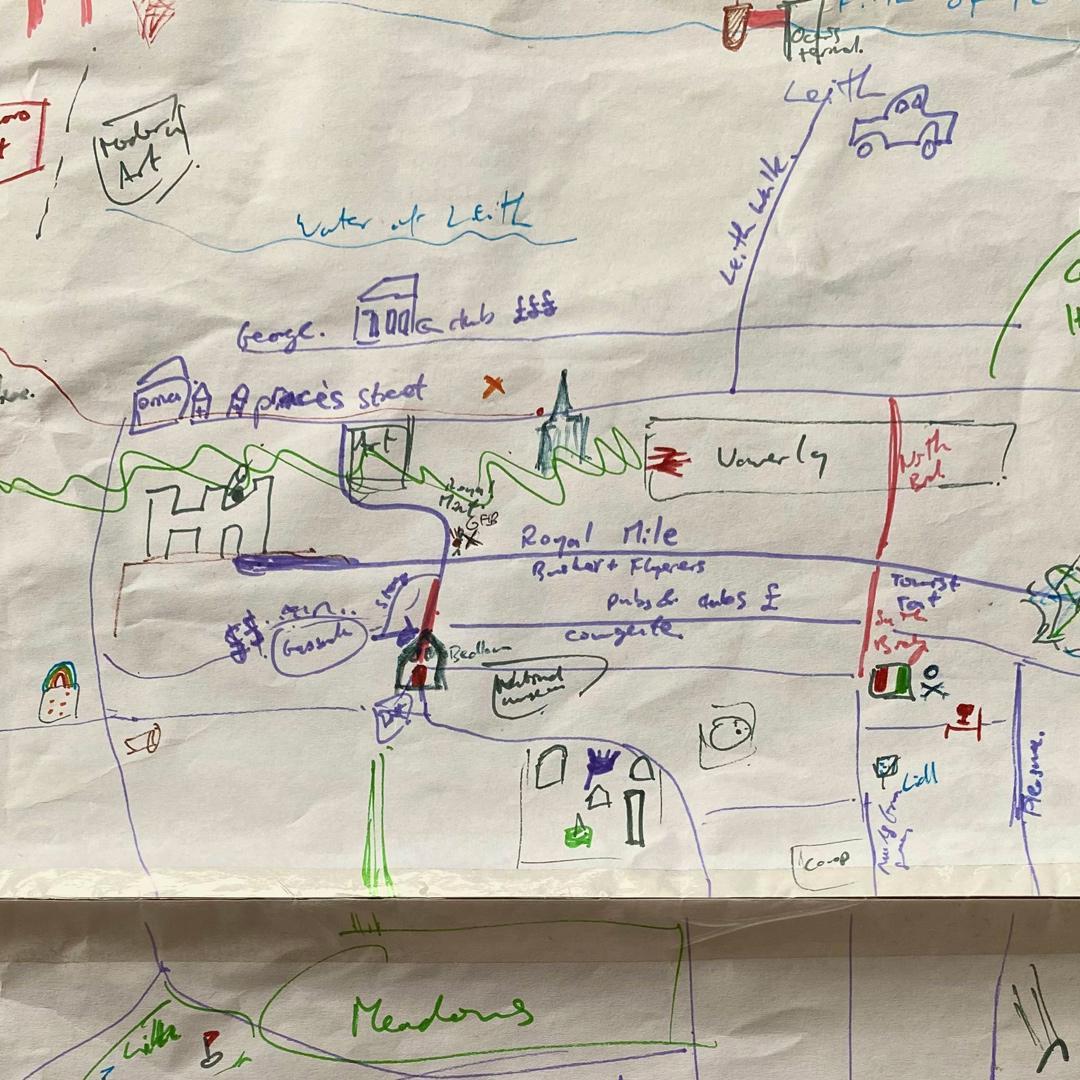 A drawn map of Edinburgh
