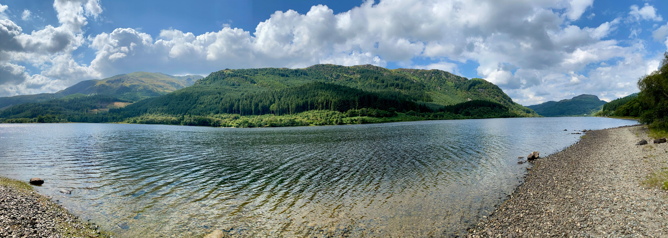A panoramic view of a Loch Lubnaig