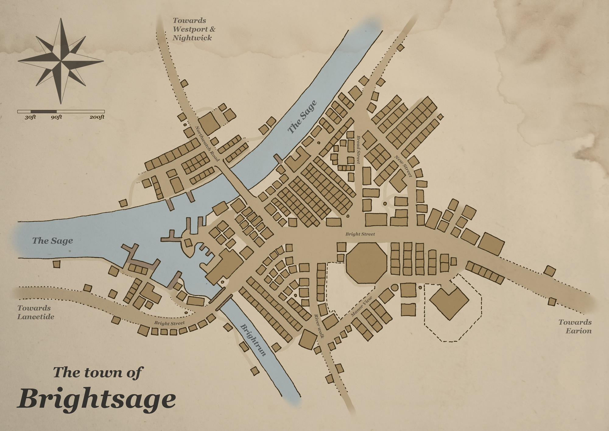 A simple map of a fantasy town named Brightsage. It's a town at the meeting of two rivers and has a large east–west trade route going through it.