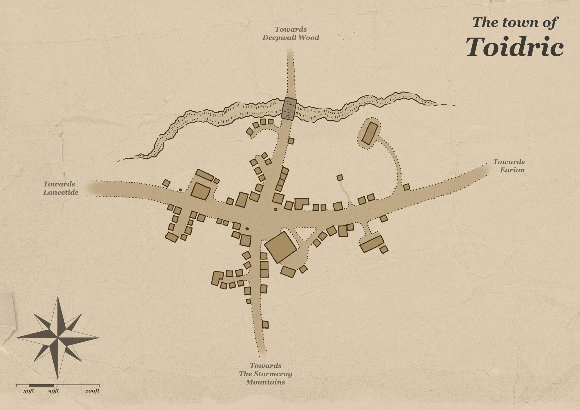 A simple map of a fantasy town named Toidric. The town is very small, it's built on a crossroad so it's mostly a stop-off point for travellers.