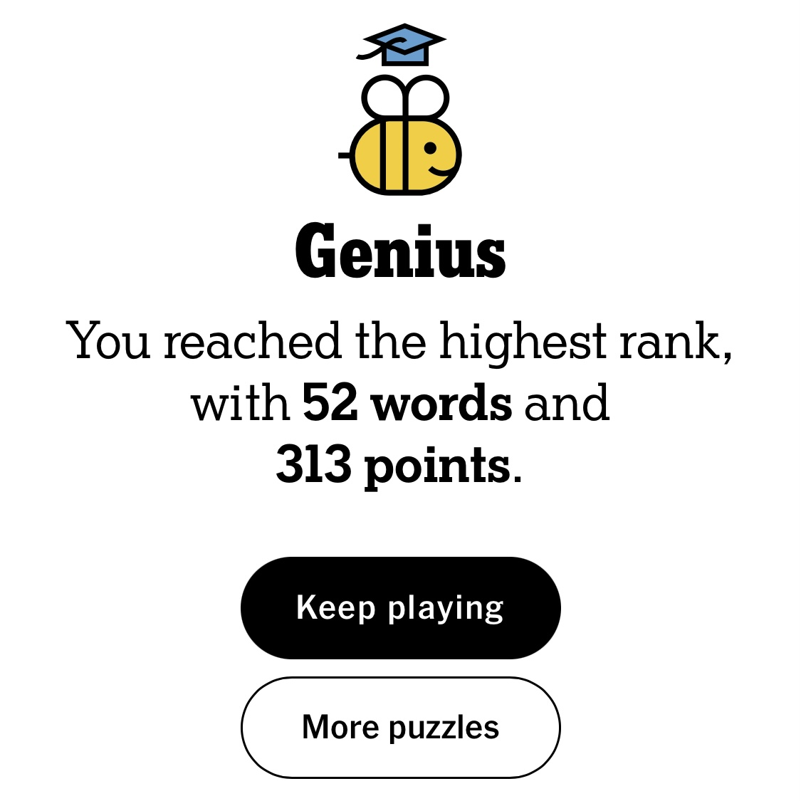 A screenshot of the Spelling Bee screen, it says: Genius, you've reached the highest rank, with 52 words and 313 points.